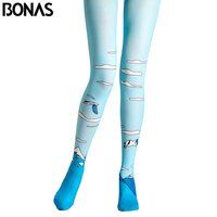 BONAS Blue Pantyhose Fashion 3D Sky Print Tights Birds Cloud Pattern High Elastic Female Collant Pantyhose