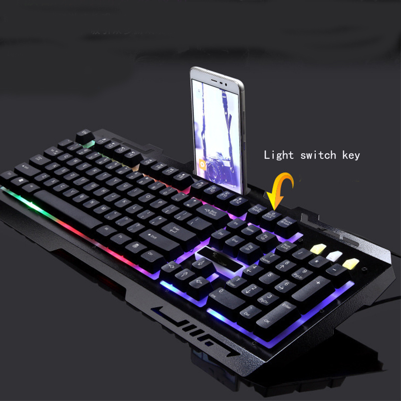 Gaming Keyboard and Mouse Combo,Wired Keyboard with Colorful Lights and Mouse with 4 Adjustable DPI for Gaming for PC/laptop/MAC image