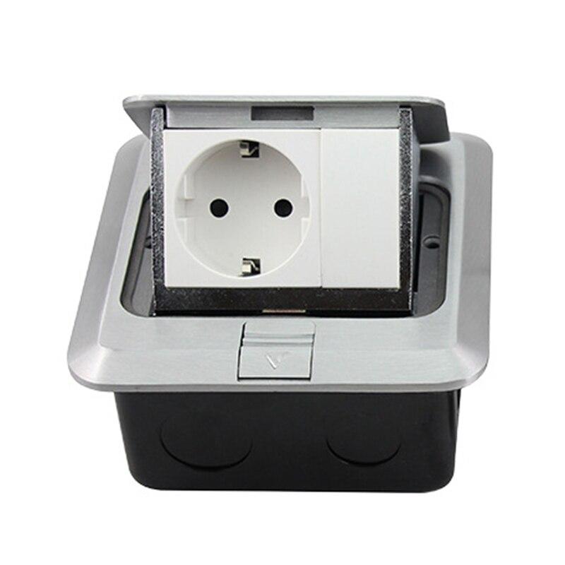 Home Decoration Hidden Plug Aluminum Silver Panel EU Standard Pop Up Floor Socket 16A 250V Electrical Outlet