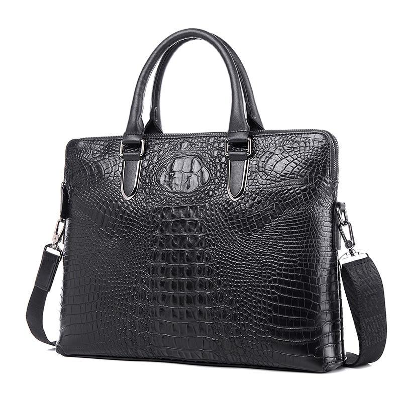 ФОТО 2016 New Fashion Crocodile Genuine Leather Men Bag Famous Brand HandBag Causal Business Case Handbag Laptop Briefcase Male