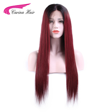 Carina Hair 1B 99j Color Full Lace Human Hair Wigs Ombre Color Brazilian Remy Human Hair Wigs with Pre-Plucked Natural Hairline