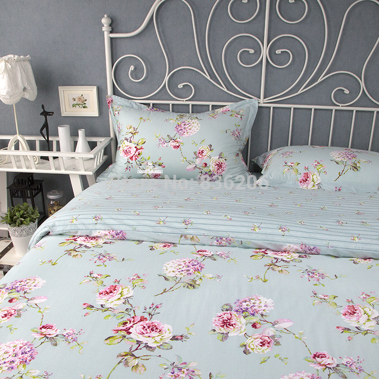Genial Royal Ikea Style 100% Cotton Blue Floral Duvet Cover/Bed Sheet Set, 4pcs  Full Queen King Comforter Bedding Set,Free Shipping In Bedding Sets From  Home ...