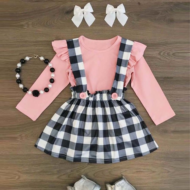 d6de4b20f1916 US $3.64 20% OFF|MUQGEW Toddler Baby Girls Lattice Strap Skirt +Long Sleeve  T Shirt Ruched Outfits Set Vestido roupa infantil roupas infantis -in ...