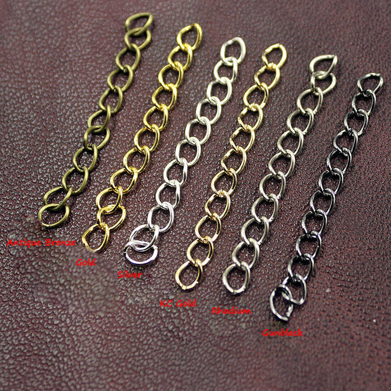 100pcs/lot 50 70mm Length Necklace Extension Chain For Bracelet Extended Chains Bulk For DIY Jewelry Making Components