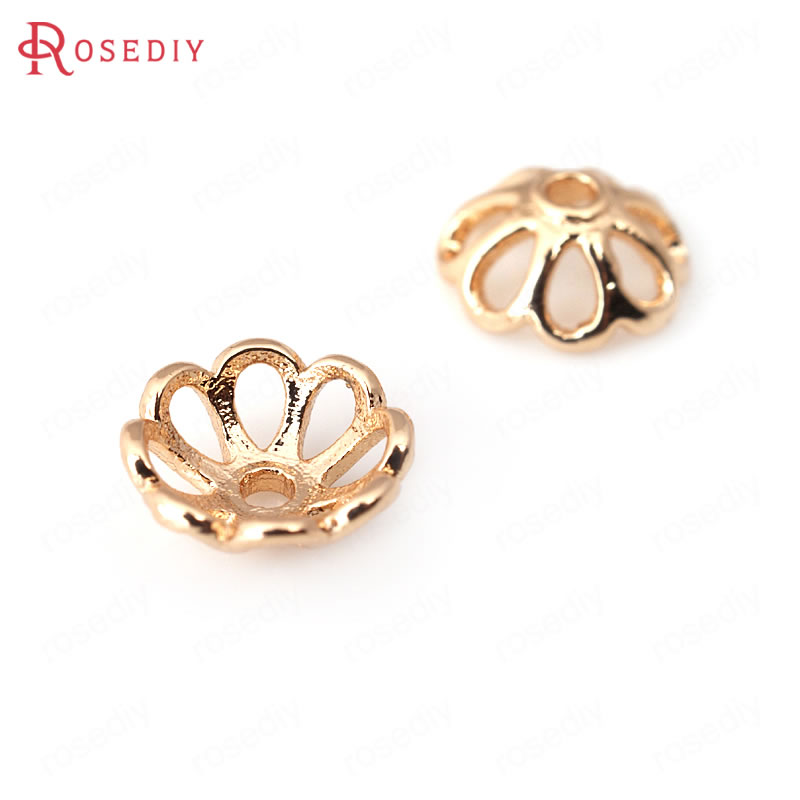 10PCS 8MM 10MM 24K Champagne Gold Color Plated Brass Flower Beads Caps High Quality Diy Jewelry Accessories