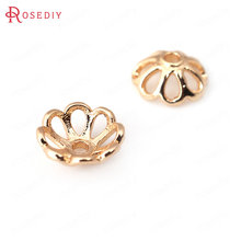10PCS 8MM 10MM 24K Champagne Gold Color Plated Brass Flower