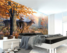 beibehang Fashion classic modern wallpaper elk forest landscape oil painting suitable for indoor bedroom living room background