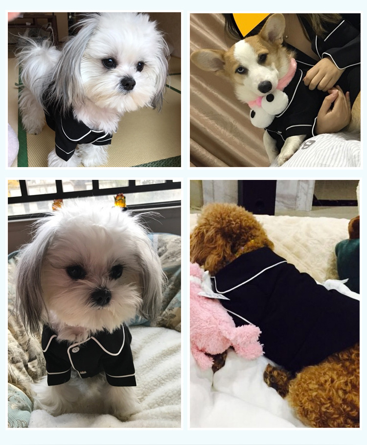 Dog Shirts Spring Summer Pet Pajama Breathable Soft Home T Shirt For Small Dogs Cats Chihuahua Poodle Vests With Snap Fastener (5)