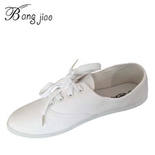 New Spring&Summer Flat Shoes Woman Comortable Casual Lace-Up Flats Ladies Canvas