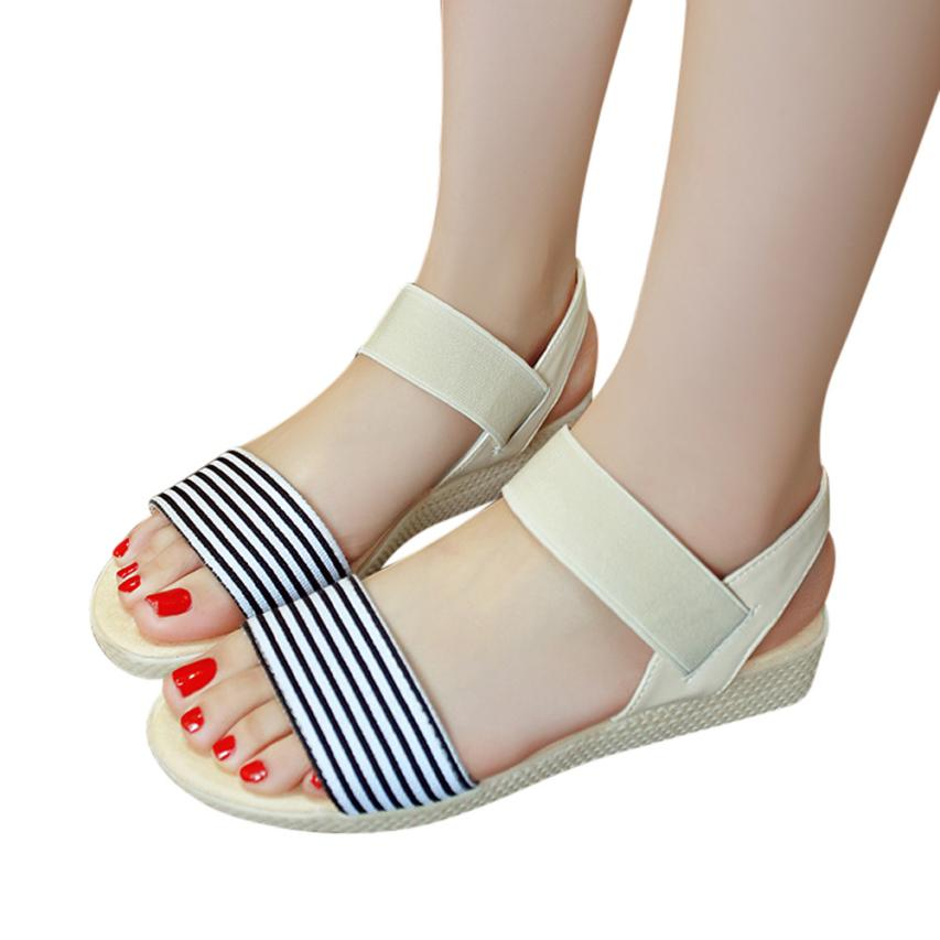 Fashion Women Flats Summer Hot Sale Sandals Female Stripe Flat Heel Anti Skidding Comfort Open Toe Beach Shoes Sandals Slippers 7