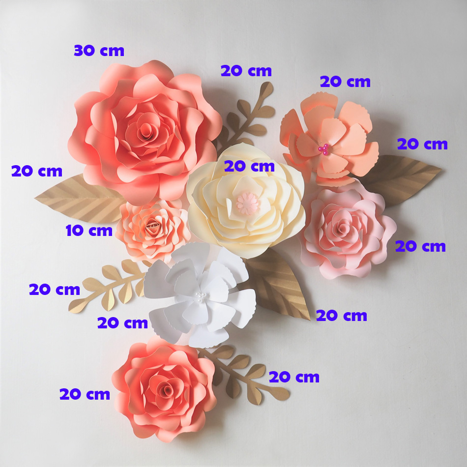 DIY Artificial Flowers Fleurs Artificielles Backdrop Giant Paper Flower 7PCS+ 6 Leave Wedding Party Decoration Photobooth