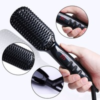 Pro LCD Heating Electric Ionic Fast Safe Hair Straightener Anti Static Ceramic Straightening Brush Straightener Hair