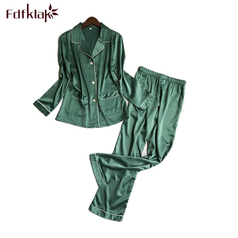 Detail Feedback Questions about Fdfklak New 2018 Fashion Pyjamas Women Long  Sleeve Silk Pajamas Set Big Size Ladies Sleepwear Spring Summer Pijamas Sets  on ... b63e77440
