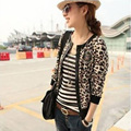 New 2016 Fashion coats Europe And America Threaded Sleeve Leather Jacket Leopard Fight Veste Femme For Woman Wholesale X0038