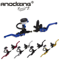 Universal Adjustable Motorcycle Brake Clutch Levers Master Cylinder Hydraulic Reservoir Set For Honda