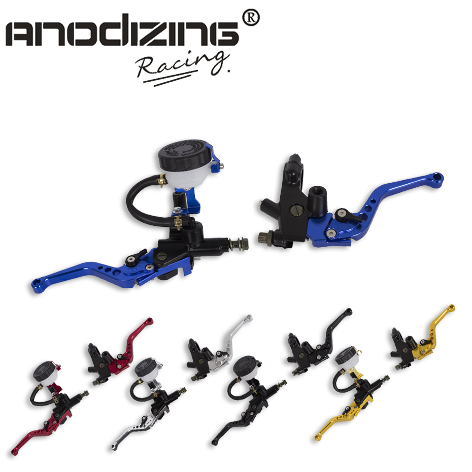 Universal Adjustable Motorcycle Brake Clutch Levers Master Cylinder Hydraulic Reservoir Set For Honda motorcycle parts 7 8 22mm racing cnc adjustable green front brake clutch short levers master cylinder fluid reservoir set