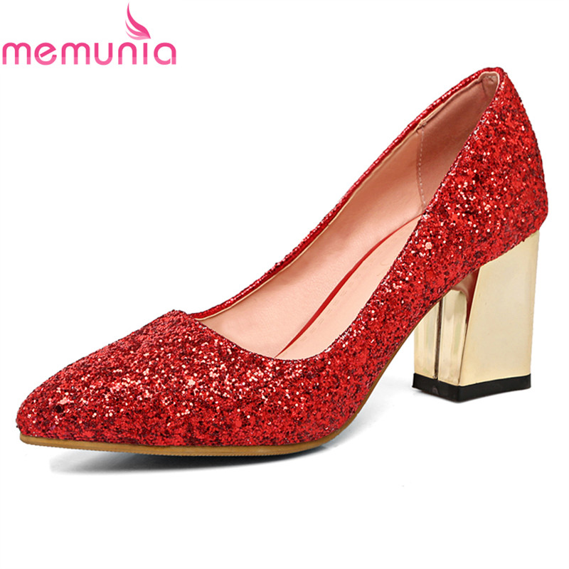 MEMUNIA big size 34-43 2018 spring autumn wedding shoes fashion thick high heels pointed toe sexy elegant women pumps