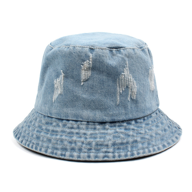 2018 Women Men Bonnie Bucket Hat Denim Distressed Brim Visor Sun Shade  Fishing Packable Summer Cap K Pop Summer Fisherman Hat fff9cad6661