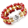 Heyrock Mens Fancy Bike Chain Bracelet of Stainless Steel 23CM Gold Plated Red Two-tone High Polished Motorcycle Heavy Bangle
