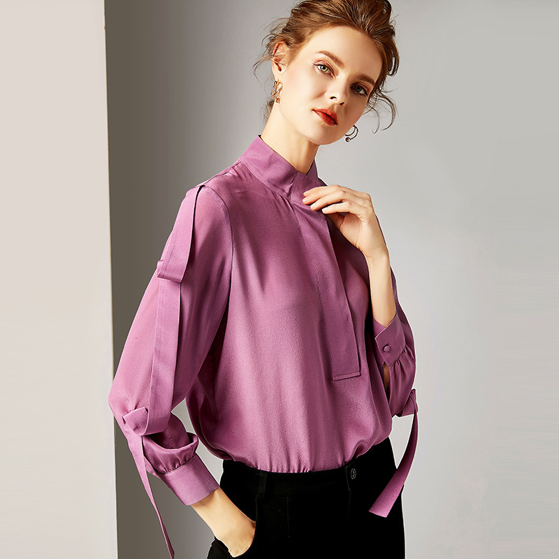 100% Silk Blouse Women Purple Shirt Elegant Design Stand Neck Long Sleeve Covered Button Pullover Top New Fashion 2019