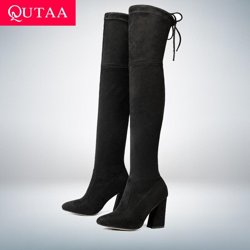QUTAA/Новинка 2018, женские сапоги выше колена из флока, пикантная Осенняя женская обувь на высоком каблуке со шнуровкой, зимние женские сапоги, ...