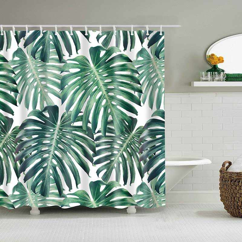 Green Tropical Plants Shower Curtain Bathroom Waterproof Polyester Leaves Printing Curtains For