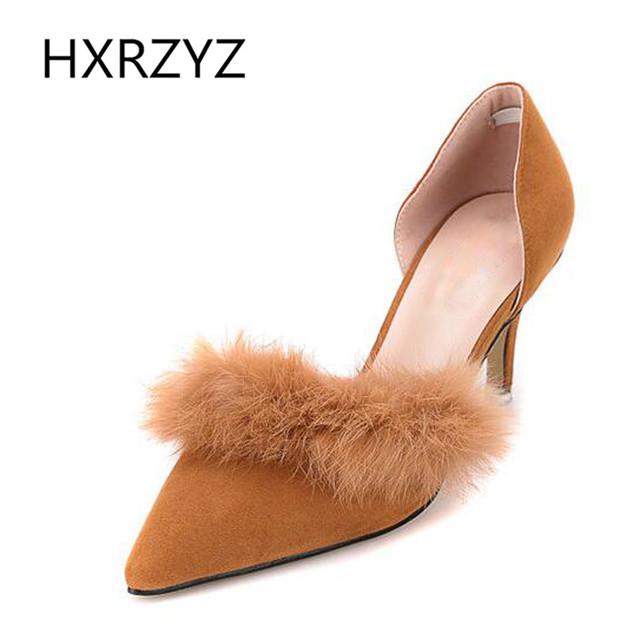 Marca HXRZYZ primavera/verão moda 7 cm Saltos Altos pointed-toe salto fino Bombas com sapatos de pele de coelho artificial mulheres Sapatos pretos cinzentos