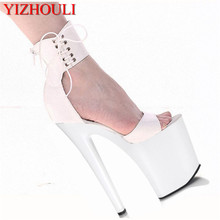 Classic 20CM Sexy Gladiator Super High Heel Platforms Pole Dance Model Shoes 8 inch ankle wrap dress Wedding Shoes