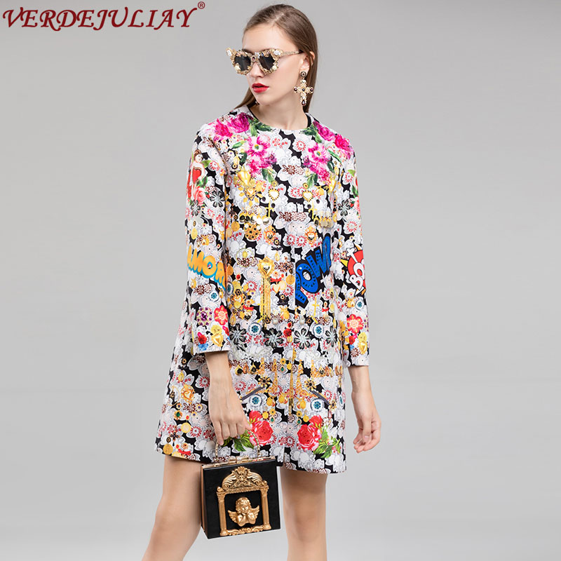 Vintage Trench 2019 New Winter Fashion Ethnic Coat 3 4 Sleeve Jacquard Colorful Sequined Diamonds Loose