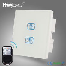 Remote 2 Gang Curtain Switch Wallpad White Crystal Glass 2 Way 3 Way Remote Touch Curtain Shutter Window Control Wall Switch