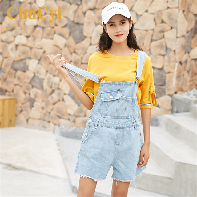 CbuCyi Women Denim Jumpsuits Rompers Womens Jumpsuit Light Blue Loose  Casual Cotton Denim Playsuits Overalls for Women Rompers 55c9146a9a