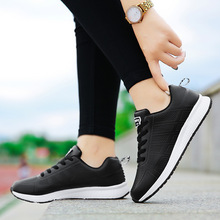 2018 Black Women Sneakers Breathable Mesh Sports Shoes Woman Comfortable Lace Up Running Outdoor White Walking Flat