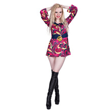 Women 70s Retro Hippie Peace And Love Cosplay Adult Halloween Costume For Carnival Party Family Group Fancy Dress