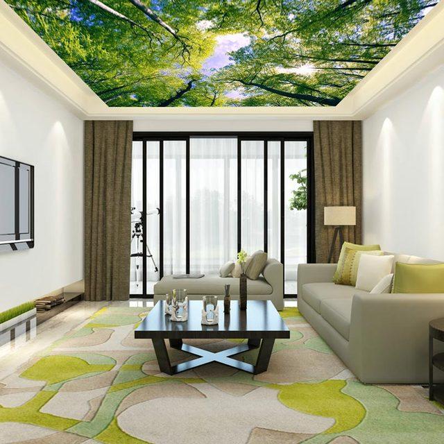 Decke Wand Papiere 3D Grün Baum Foto Sky Wand Papier Wandmalereien  Wohnzimmer Schlafzimmer Verdicken Selbst Adhesive
