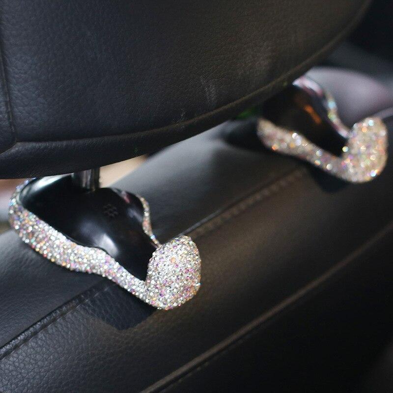 Universal Luxury Crystal font b Car b font Seat Back Hooks Bags Hanger Holder Organizer Rhinestone