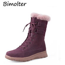 Bimolter Women shoes Winter Boots 2018 Warm Wool Winter Snow Boots Real Leather Shoes Cow Suede Woman Boots shoes size NA020