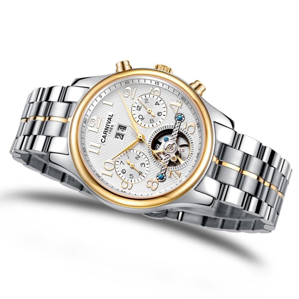Carnival Men Golden Watch Tourbillon Mechanical Stainless Steel Multifunction Clock Day-Date Sapphire Wristwatches Waterproof цена и фото