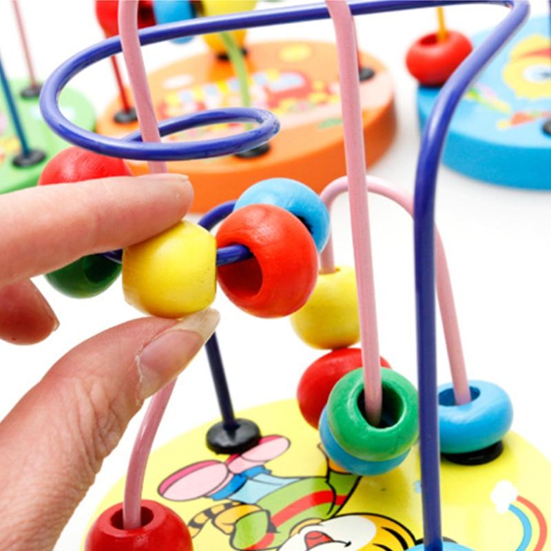 Fargerike Wooden Mini Around Perler Barn Barn Perler Dyreleker Toys - Bygg og teknikk leker - Bilde 3
