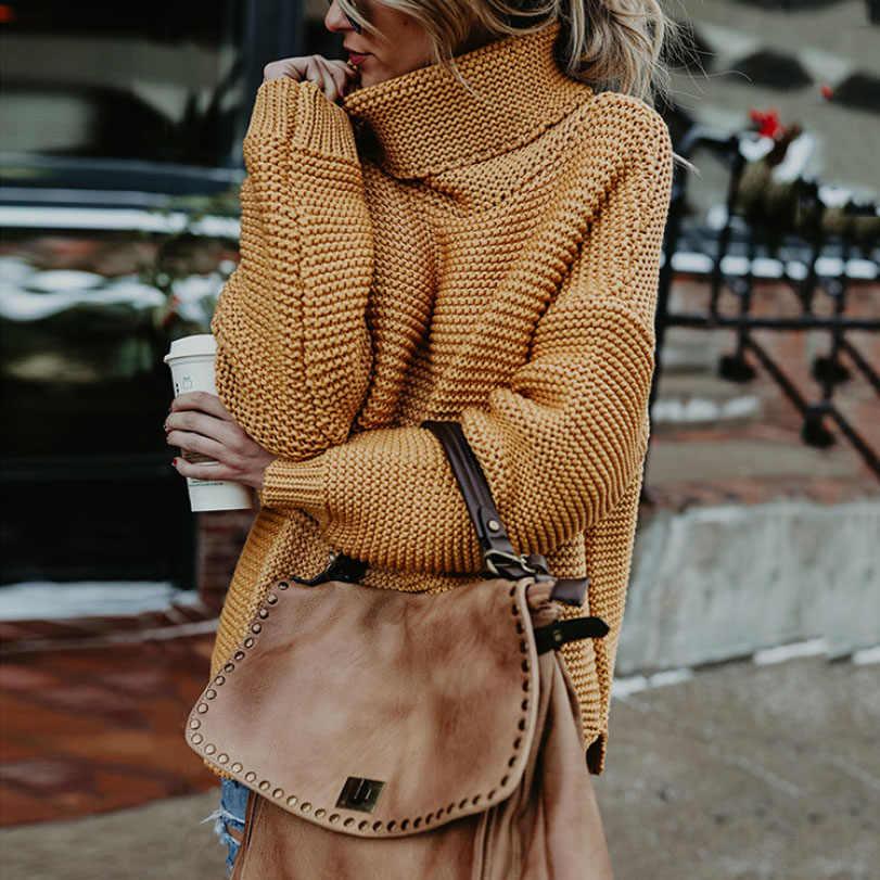 Suéteres de cuello alto de mujer Otoño Invierno 2018 jerséis de tirón europeo Casual Twist caliente suéteres femeninos suéter de gran tamaño Pull