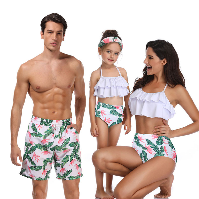 Mother Daughter Father Son Clothes Dresses Family Matching Swimwear Beachwear Mommy And Me Swimsuit High Waist Bikini Look Mum