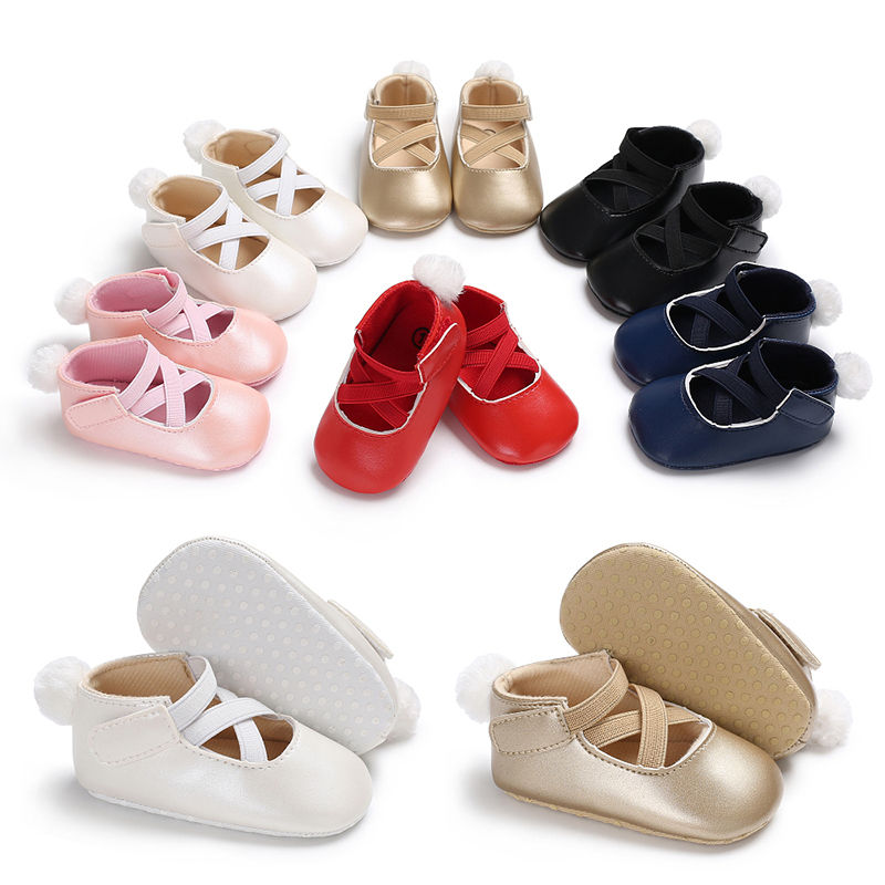 0-18M First Walker Shoes Newborn Baby Girls Boys Soft Sole PU Shoes Toddler Crib Moccasin Ball Prewalker Boots Party Shoes