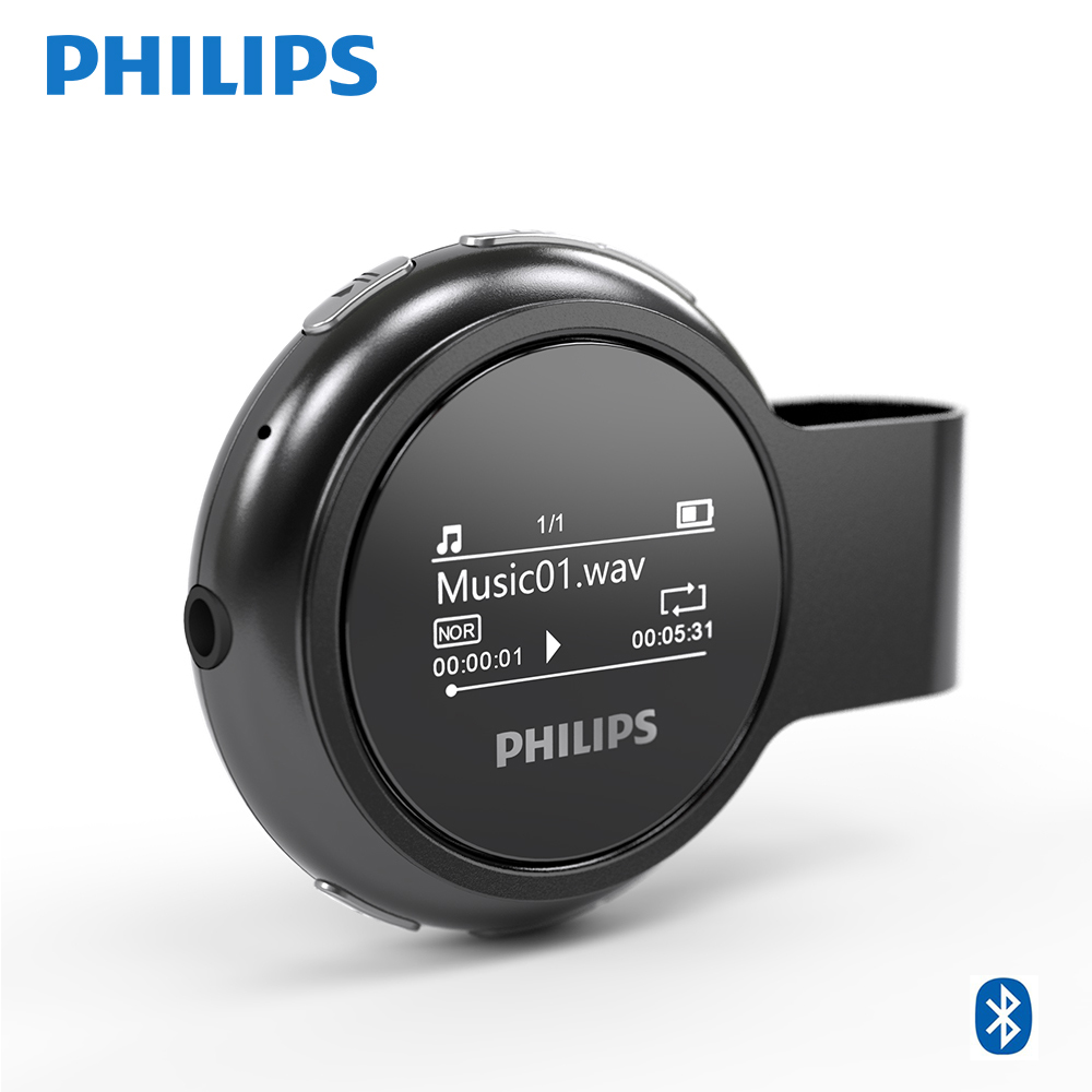 Philips Original Digital Bluetooth MP3 Player for Kids USB FM Radio 8GB Lossless Wireless With Pedometer Metal Clip