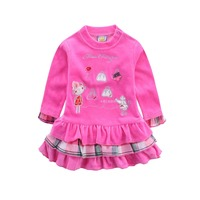 2015 Baby Clothes Velour Children Clothing Kids Dress For Girls Fashion Ball Gown Infant Apparel One