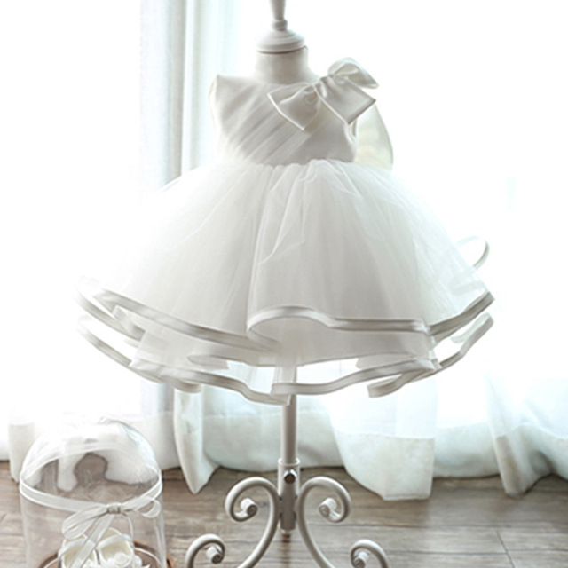 Los bebés de la boda vestido de bola 2016 vestido de verano de encaje blanco grande partido de la princesa arco traje roupa de bebe recem nacido festa