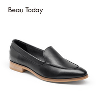 Beau Today Genuine Leather Casual Women Loafers High Quality Waxing Calf Leather Shoes With Pointed Toe