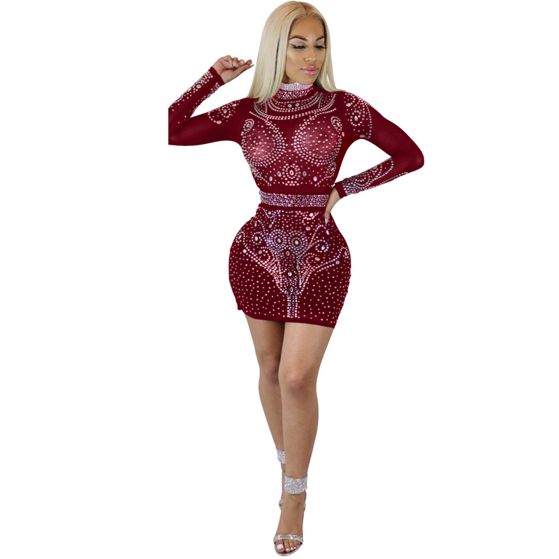 8fc809acac Women Full Sleeve New Arrival 2018 Runway Sexy Latin Diamond Patchwork  Stretch Bodycon Short Evening Party Club Dresses 302175