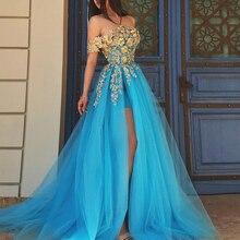 Smileven Off The Shoulder evening dress 2019 Gold Lace Appliques Prom Dress A Line Front Split prom dresses patterns plus size недорого