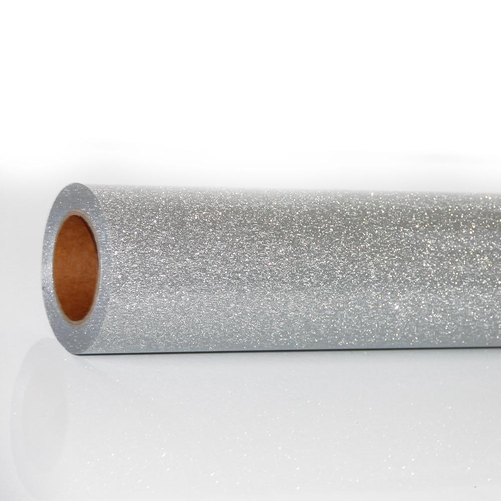 HOHOFILM Width:20'' Silver Glitter Heat Transfer Vinyl Iron On Heat Press  T-shirt Garment Textile 30cm/50cm/100cm