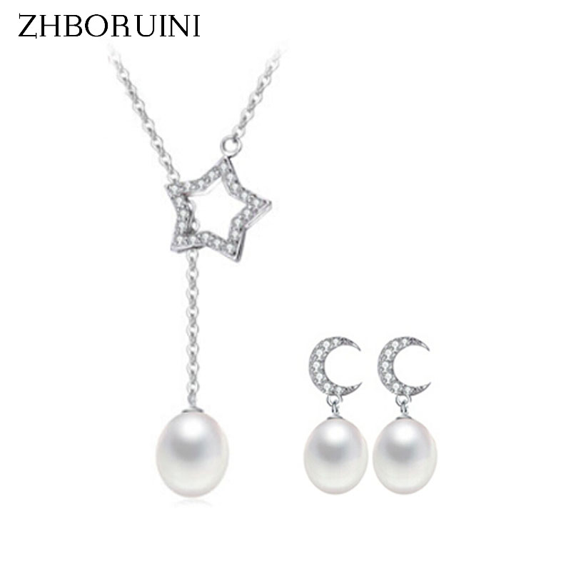 2015 Fashion Pearl Jewelry Sets Natural Freshwater Pearls Star And Moon 925 Sterling Silver Necklace Earrings