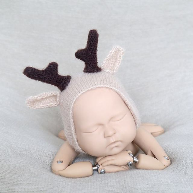 9df89f9c25b28 US $10.0 |Christmas Newborn Deer Bonnet Crochet Mohair baby Reindeer hat  Photography props-in Hats & Caps from Mother & Kids on Aliexpress.com | ...
